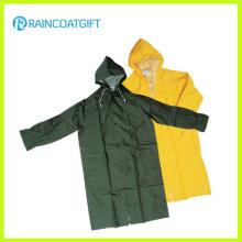 PVC Polyester Long Sleeve Men′s Raincoat