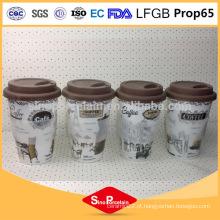 CE / EU 400ml decalque de impressão caneca de café com luva de silicone e tampa para BS131126D