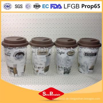 Umweltfreundliches keramisches Produkt 400ml keramische Kaffeetasse ohne Griff, Silikonbecher