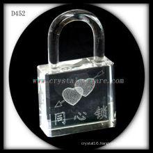 K9 3D Laser Subsurface Love Inside Lock Shaped Crystal