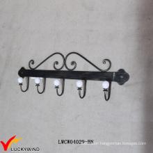 5 Curved Retro Wall Mounted Black Metal Coat Hooks