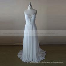 Vestido de boda plisado rebordeado gasa simple del amor de la gasa Vestidos de noiva