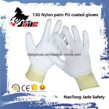 13G blue Lind Palm White PU Coated Glove