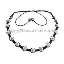 white shamballa necklace with 13PCS Crystal balls