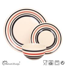 18PCS peint à la main cercle cercle vaisselle en grès