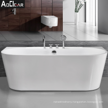 2021 Aoclear new small acrylic classical freestanding resin back to wall bath tub bathtubs