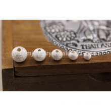sef025 10pc/lot 4/5/6/7/8 mm Thai silver loose beads s925 silver jewelry accessories diy handmade Frosted beaded wholesale