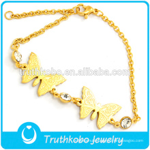 2015 Online Shop Fashion Two Butterflies Stainless Steel 18K Gold Charms Cuff Crystals Bracelet