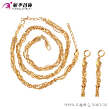 63604 moda atacado china delicada elegante dubai banhado a ouro conjunto de jóias 3 peça set