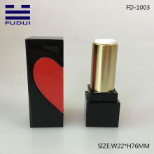 Shiny Black Square Heart Lipstick Case Container