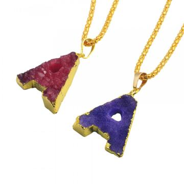 Colorful Crystal Alphabet Letter A Pendant Necklace