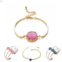 Mode Frauen Druzy Manschette Armband Charms, herzförmige Gold Plated Druzy Armband