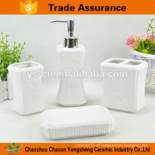 Elegante banho de cerâmica define com flor de alívio