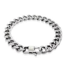 Bracelets en acier inoxydable pour hommes Bracelets en argent noir anti-allergie