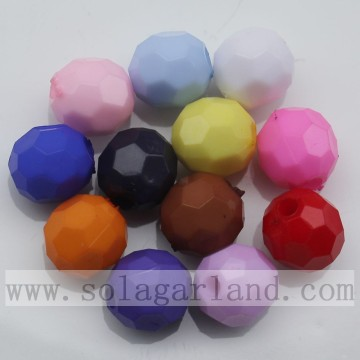 Round ball diamond beads 32 facets cut solid color