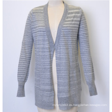 100% algodón nuevo rayas de punto de la chaqueta de punto de las mujeres largas