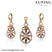 64223 Xuping Jewelry fashion colourful artificial diamond-bordered jewelry set with gold plated