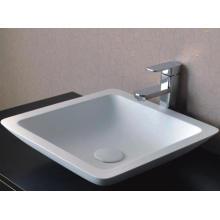 Sanitary Wares Modern Design White Bathroom Marble Basin (BS-8323)