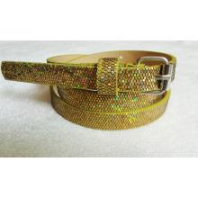 New arrival 2016 Fashion glitter lady pu belt with glittler