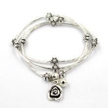 Retro Silver Flower Charm Stainless Wire Custom Bracelet