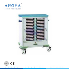 AG-CHT009 ABS material two channel patient records holder movable medical chart file cart