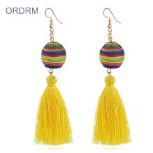 Handmade big silk rainbow tassel earrings