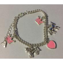 Tobillera plata metal con corona, caballo y corazón