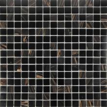 Carreaux de mosaïque en verre noir d'agate de luxe de ligne d'or