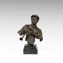 Bustos Estatua de Bronce Clarinete Hombre Decoración Escultura de Bronce Tpy-483 (C)