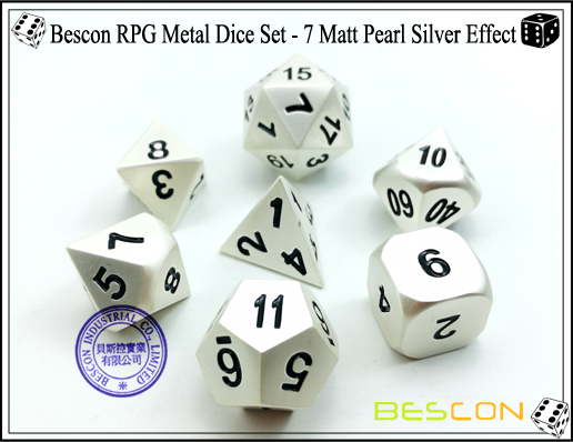 Bescon RPG Metal Dice Set - 7 Matt Pearl Silver Effect-2