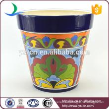 YSfp0007-03 Impresión de la mano de la forma redonda macetero de flor de 12 pulgadas para el jardín
