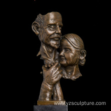 Old Love Couple Bronze Bust for Sale