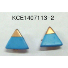 Blue Triangular Earrings with Stone and Metal