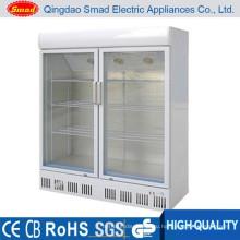двойная стеклянная дверь холодильник супермаркет дисплей кулер