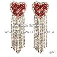 Rhinestone Silver Earrings In Heart Shaped