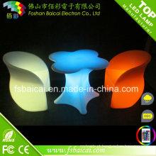 Tabela e cadeira de vidro plásticas iluminadas diodo emissor de luz para a barra
