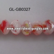 opaque roundel glass bead-red with mixed color