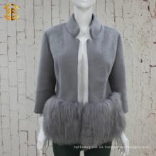 Diseño de marca elegante señora genuina piel de zorro y abrigo de lana