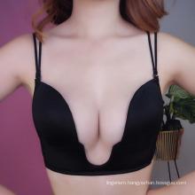 New design Deep U style smooth one piece no underwire sexy women bra underwear