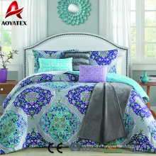 Hot sale fashion style microfiber comforter set 7pc high quality ling size comforter set