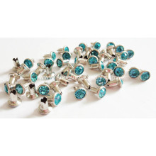 7mm Rhinestone Rivets with Aquamarine Glass Stone