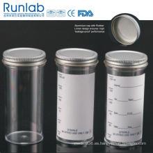 Recipientes para muestras de 150 ml registrados por la FDA y aprobados por la CE con tapa metálica