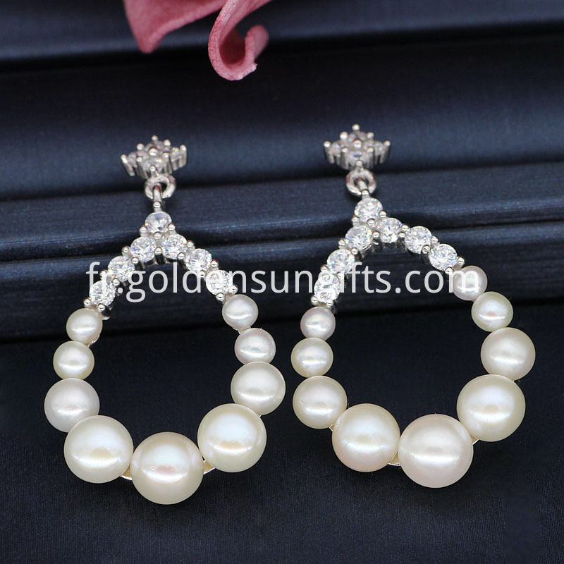 White Button Pearl Earrings