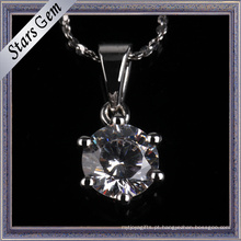 Simples e moda estilo sintético diamante prong definir pingente de jóias