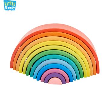 Hot Sale Eco-Friendly Montessori Educational Wooden Stacking Bricks Toys Rainbow Building Blocks For Kids