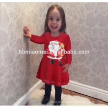 Großhandel Mode Rote Farbe Langarm Familie Passende Kleidung Frauen Kleid Weihnachtsmann Druck Winter Weihnachten Mädchen Kleid