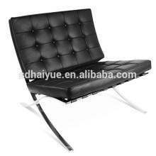 2017 verrückter Verkauf Barcelona Stuhl Stil hochwertige Lounge Stuhl in schwarzem Leder