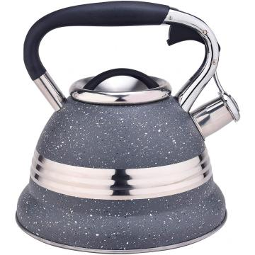 Gris con diseño de acero inoxidable Whistling Tea Kettle