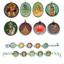 Pendentif en peinture indienne Pendentifs peints à la main