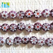 estilo murano incrustado de contas de vidro floral contas de millefiori redondas planas